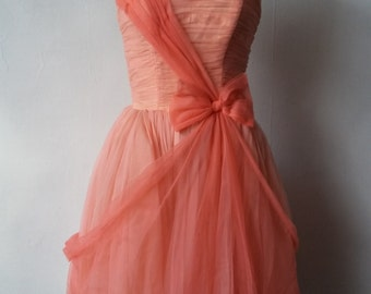 1950s pink chiffon Emma Domb party dress | vintage 50s chiffon and tulle party dress | extra small | Cybelle
