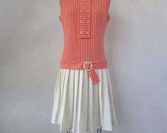 1960s sorbert orange and cream mod dress | vintage 60s mod dress |  The Shauna Dress