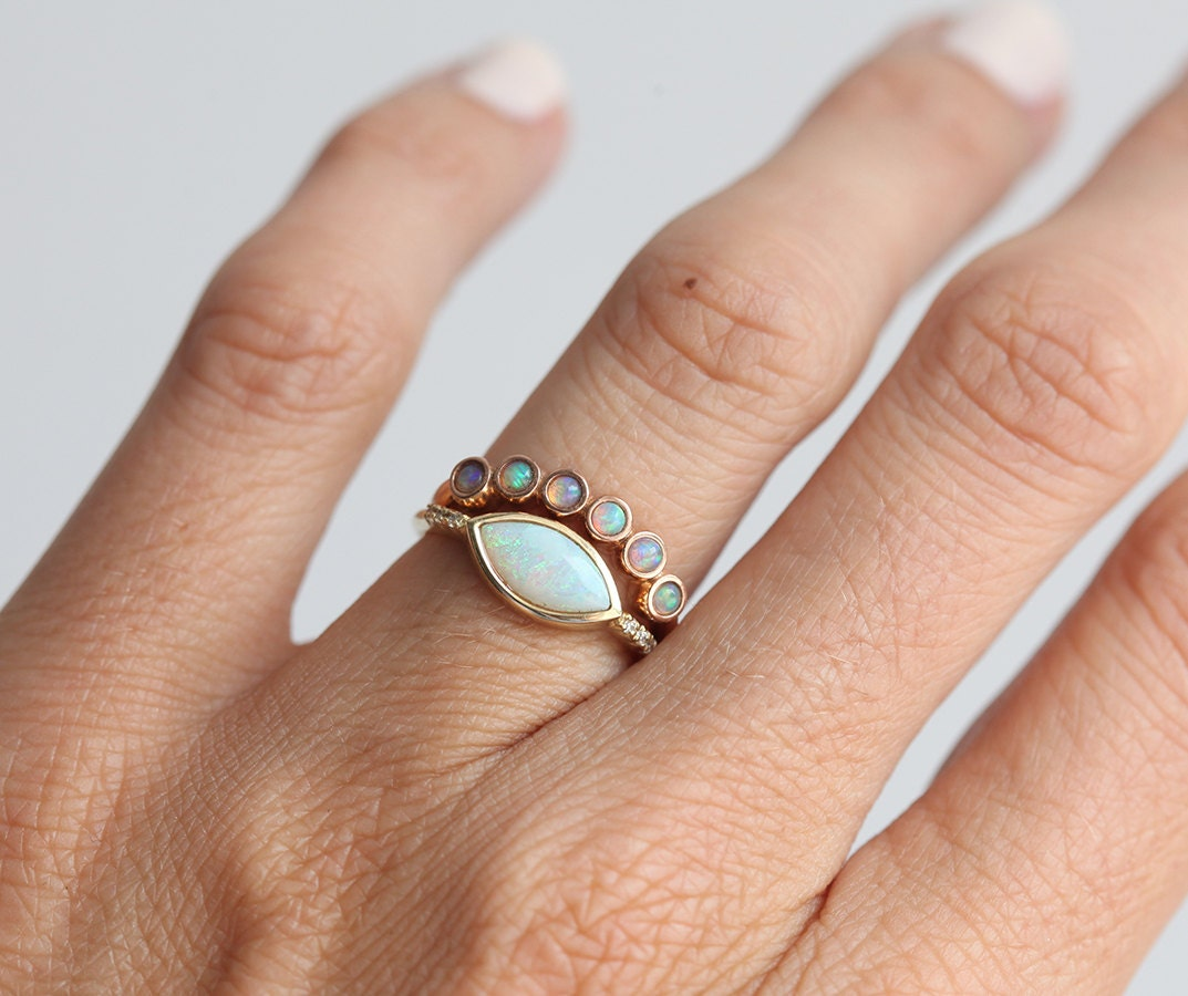 opal ring opal wedding ring opal wedding band rose gold opal ring - Opal Wedding Ring