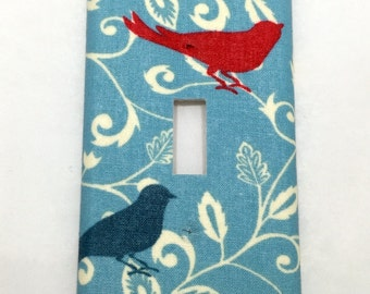 Birds and Branches Light Switch Plate Cover / Outlet Cover / Home Decor / Baby Shower Gift / Nursery Decor / Kid's Room / Housewarming / Red