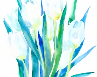 White Tulips, Original watercolor painting 14 X 11 in