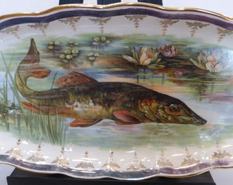 Large Fish / Pike / Muskie Serving Platter By Crown Sterling China