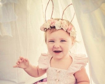 Bunny Ears Floral Tiara - One size