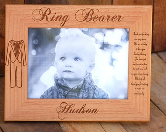 Ring Bearer Gift Personalized Ring Bearer Frame Custom Engraved Wedding Picture Frames Ring Bearer Thank You Gift Flower Girl Gift