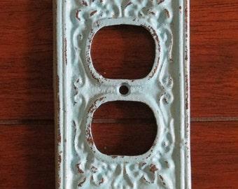 Decorative Electrical Outlet Plate / Aqua Blue or Pick Color / Plug-in Cover / Fleur de lis / Cast Iron / Shabby Chic Vintage Style