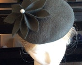 100% Merino Wool Fascinator Hat - Charcoal grey flower hat, pillbox hat, round wool fascinator