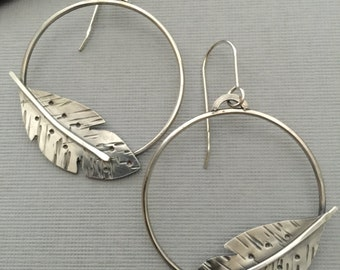 Sterling Silver Feather Hoop Earrings, Artisan Hoops, Handforged Feather Earrings, Handcut Textured Feathers