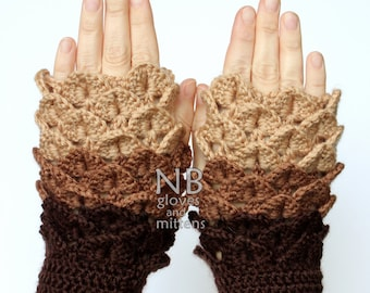 Hand Crocheted Fingerless Gloves, Gift Ideas, For Her, Gloves & Mittens, Brown,Crocodile Stitch
