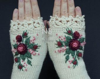 Knitted Fingerless Gloves, Ivory, Burgundy, Dark Rose, Rose, Roses, Gloves & Mittens, Gift Ideas, For Her, Winter Accessories