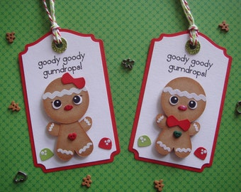 Gingerbread Man Gift Tags, Christmas Gift tags, Gingerbread Girl, Cookie Exchange Tags, Christmas Cookies,Gingerbread House