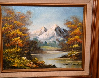 2 ( Two ) Original Oil on Canvas PAINTINGS by G. WHITMAN,7 1/2 x 9 1/2 inside frame, 15 1/2 x 17 1/2 with Frame,( Signed )Mountain & Stream.
