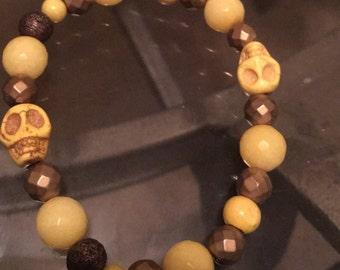 Yellow & Gold Skull Bracelet