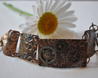 Mixed metals Steampunk copper bracelet. Hammered copper bracelet, metal work, boho, industrial