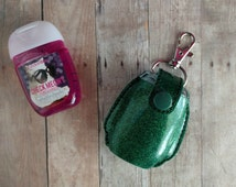 Pocket Hand Sanitizer Holder- Emerald Green Glitter Vinyl with Snap, Great for Backpacks, Bags and Purses, Quick Ship, Choose from 25 Colors