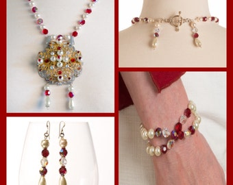 Jewelry Set:  Hand-knotted Swarovski Pearls with Swarovski encrusted Filigree Pendant Necklace, Earrings + Bracelet (3 pieces)