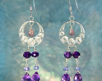 Amethyst, Pink Tourmaline & Tanzanite Beaded Filigree Earrings SE232