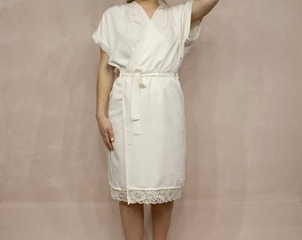 Cotton Bridal Robe / Lace Off White Bridal Robe