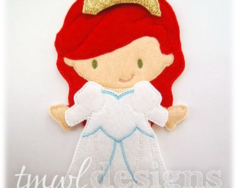 Seaside Wedding Dress Felt Paper Doll Toy Outfit Digital Design File - 5x7