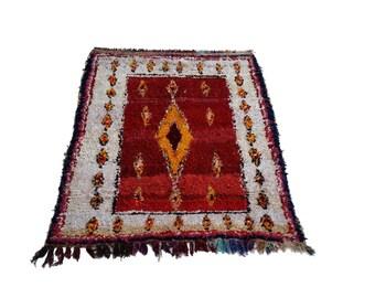 "81""x59"" Vintage Moroccan Rug Woven Using Different Scraps Of Used Textiles / Boucherouite / Boucherouette"