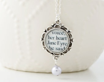 Book Lover Gift – Jane Eyre Pearl Drop Necklace – Literary Jewelry – Jane Eyre Necklace – Jane Eyre Jewelry – Literary Weddings