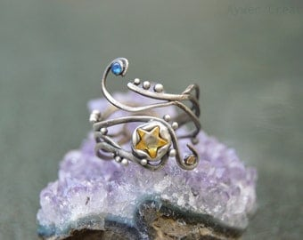 Star Crossed Lovers - Adjustable Sterling Silver Fashion Ring Yellow and Blue Cubic Zirconia Gemstones