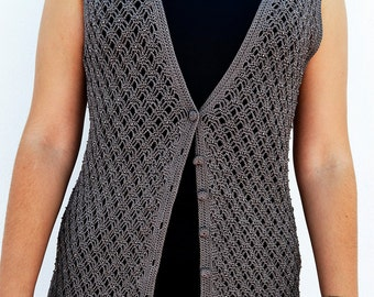crochet long gray vest