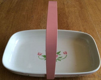 Vintage Ceramic Flowered Basket/Baking Dish with Handle from Teleflora 1985