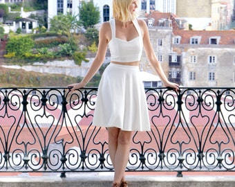 Grace Vintage Style Womens Matching Co Ords Summer Set. Two Piece Dress with Strappy Crop Top and Floaty Midi Skater Skirt in White