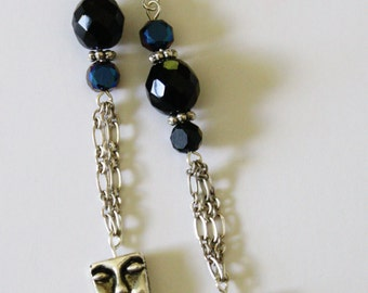 Face Dangle Earring with Chain Detail