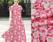 Pink Stretch Silk Satin Fabric with Rose Print Pattern, Fashion Floral silk fabric by the yard,1m - TLD532704232242