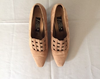 toffee brown caged flapper heels | cage suede pumps | 7.5 | 8
