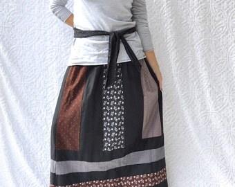 70s Mr Hank Maxi Skirt || Retro Long Patchwork Skirt. Mod Prairie Skirt. 1970s Skirt. Hippie Festival Maxi. Boho Patchwork Skirt || medium