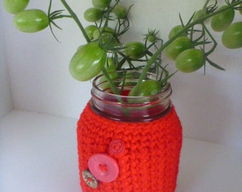 crochet mason jar cover, mason jar cozy, 16 oz mason jar cover, 2 cup mason jar cozy, 500 ml mason jar sleeve