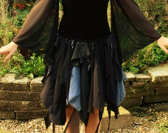 Boho witch-fairy dress/hippie/recycled/Halloween/Costume