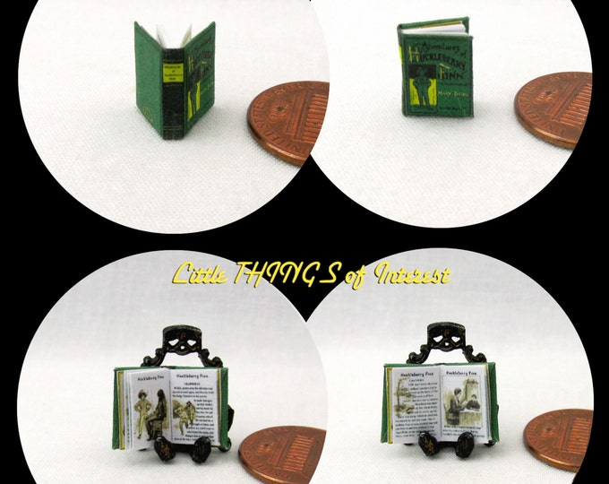 1/24 Scale Book HUCKLEBERRY FINN Miniature Book Dollhouse Illustrated Book Half Inch Scale