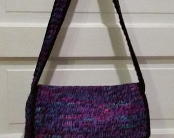 Grape Fizz and black crochet messenger bag