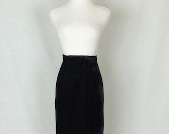 Vintage 80s Skirt/ 80s Black Velvet Pencil Skirt