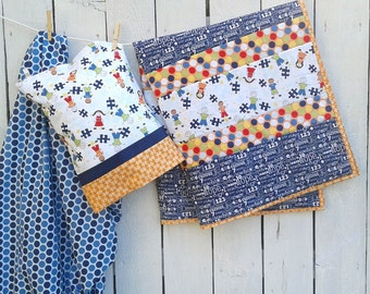 Baby Boy or Toddler Quilt- Can be Personlized- Pillowcase and Fitted Crib Sheet can be added- Pieces of Hope Fabric by Riely Blake