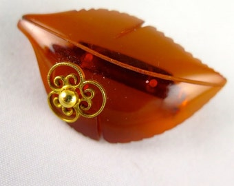 Vintage Amber Leaf Brooch, 1960s Thermoplastic Resin Pin