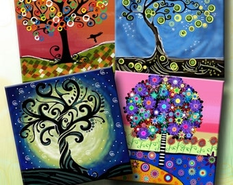 FUNKY TREES -  Printable Digital Collage Sheet 8 x 4 inch squares for Coasters, Greeting Cards, Gift Tags.  Instant Download #60.