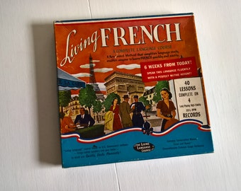 Living French A Complete Language Course --- Vintage Listen & Repeat Records --- 1950's French World Traveler Vinyl Hipster Rosetta Stone