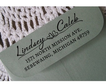 Custom Address Stamp, Wedding Return Address, Personalized Rubber Stamp, Pre-inked, Sebewaing