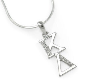 Kappa Delta Sterling Silver Lavaliere with simulated Diamonds // Sorority Jewelry // Sorority necklace // Gifts for Her // ΚΔ Accessories