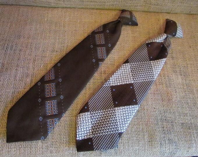 Vintage clip on ties, pair of vintage ties, Damon tie, Snappers tie, vintage brown ties, wide ties, wide clip on ties, vintage mens ties