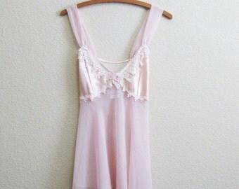 Pink Lace Chiffon Babydoll Nightgown Sheer Bridal Medium California Dynasty Set Panties Underwear