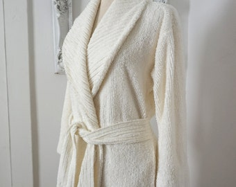Vintage Stan Herman Glamorous White Chenille  Bathrobe