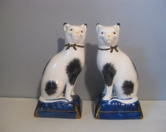 Vintage Pair Staffordshire Style Cats on Cushion English Porcelain Cat Figurines