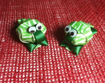 Green & White Turtle (3D) Hair Clip