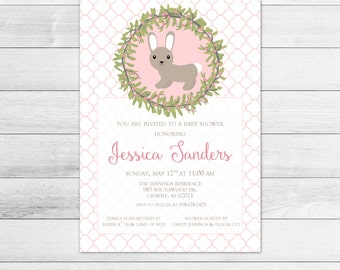 Bunny Rabbit Girl Baby Shower Invitation, Pink Digital Invite File