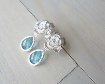 Aqua Crystal Earrings, Bridal Jewelry, Beach Wedding, Bridesmaid Earrings, Wedding Jewelry